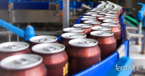 Beer cans on the production line
